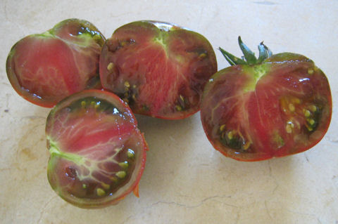 Chocolate Vintage heirloom tomato cut open