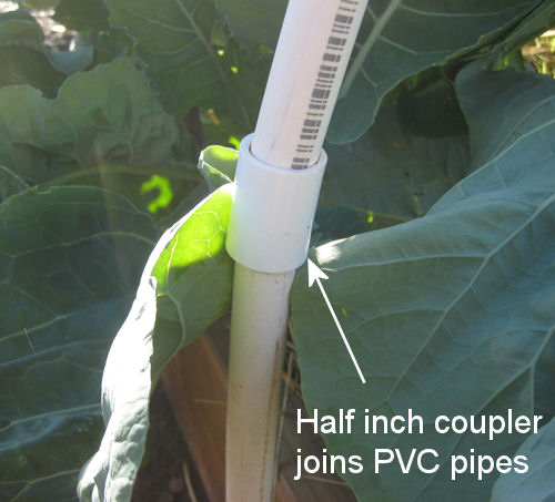 Half inch coupler joins PVC pipes