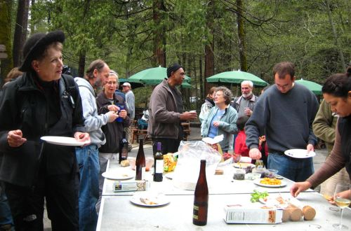 Sharing appetizers at San Jose Camp near Yosemite